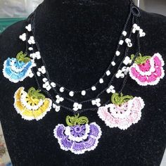 Excited to share this item from my shop: Necklace crochet flower motifs Crochet Motif, Crochet Flowers, Handmade Necklaces, Handmade Items, Button Necklace, Crochet Fashion, Craft Supplies, Crochet Earrings, Delicate