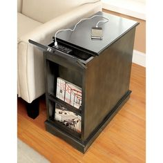 41a6346589c Furniture of America Terra Multi-storage Side Table with Power Strip Diy  End Tables