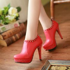 Amazing Rivet Red Leather Round Closed Toe Stiletto Super High Heel Ankle Deep Pumps