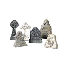 Department 56 Village Tombstones St/6 ($15) ❤ liked on Polyvore featuring home, home decor, holiday decorations, halloween, department 56 and halloween home decor