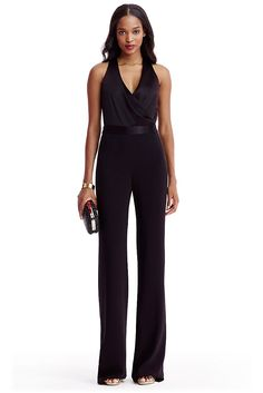 DVF Layana Satin and Crepe Combo Jumpsuit | by DVF
