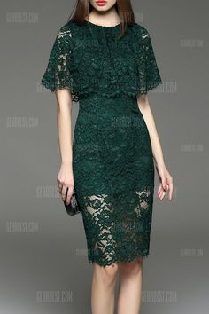 cc blackish green cut out lace capelet dress here, find your knee length dresses at dezzal, huge selection and best quality. Trendy Dresses, Simple Dresses, Cute Dresses, Beautiful Dresses, Short Dresses, Dresses Dresses, Green Lace Dresses, Lace Dress Styles, Pencil Dresses