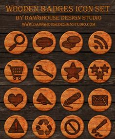 Ultimate Collection of Free Wooden Icons for Web Designers and Developers Selling Crafts Online, Craft Online, Blog Design, Free Design, Badge Icon, Social Media Icons, Ultimate Collection, Graphic Design Typography, Icon Set