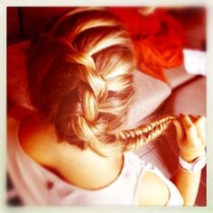 French twist braid with a fishtail.