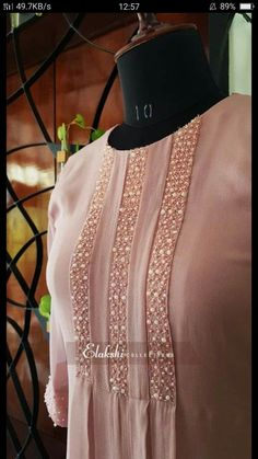 Neck Designs For Suits, Dress Neck Designs, Stylish Dress Designs, Designs For Dresses, Hand Embroidery Dress, Kurti Embroidery Design, Embroidery Fashion, Designer Party Wear Dresses, Kurti Designs Party Wear