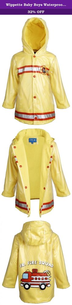 Wippette Baby Boys Waterproof Hooded Fleece Lined Firefighter Raincoat Jacket - Yellow (18 Months). Natures law rules that fire and water contradict. Well, I guess this is an exception to the rule. This firefighter waterproof rain jacket by Wippette will provide him dryness, warmth, and fun at once. Thick fleece lining give you a multi purpose jacket, as it is warm enough for chilly weathers. Reflective striping, fire dept. badge, and a fire truck accent on the back give this jacket a real...