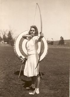 Young Ann Weber Hoyt displaying the form that would put her in the Archery Hall of Fame