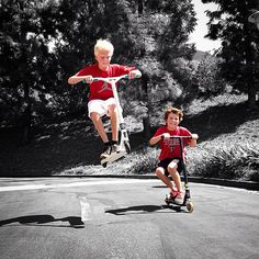 Carson scootering with Hayden Summerall