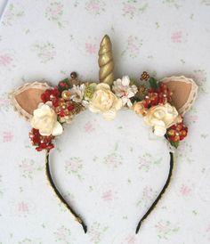 Unicorn horn headpiece - Gold Unicorn headband by SpiritKawaii