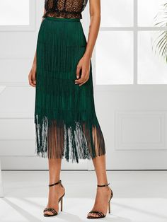 Shop Tiered Fringe Skirt at ROMWE, discover more fashion styles online. Fringe Skirt, Lace Skirt, Fringe Pants, Fringe Fashion, Floral Print Skirt, Skirt Outfits, Just In Case, Tie Dye Skirt, Pants For Women