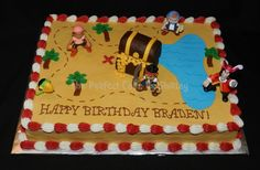 Jake and the Neverland Pirates sheet cake. Iced in buttercream, treasure chest made from rice krispie treats, gold is fondant, figures are plastic.