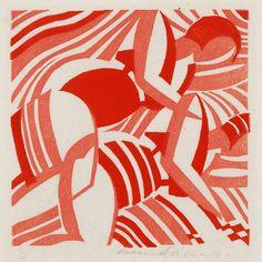 Leonard Beaumont, Sun Bathers, c1932, linocut.