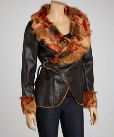 Another great find on #zulily! Black & Orange Faux Fur Jacket - Women by Fantazia #zulilyfinds