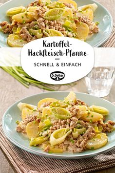 Schnelle Kartoffel-Hackfleisch-Pfanne Quick potato and minced meat pan: Creamy potato pan with leek as the main course lunch meal the pan für das Abendessen Meat Recipes, Healthy Recipes, Garlic Recipes, Quick Recipes, Healthy Meals, Carne Picada, Mince Meat, Cooking Time, Food Network Recipes