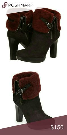 """UGG Australia Scarlett Cuff Boot Luxe boots tailored in soft suede and finished with a, plush sheepskin cuff that adds an indulgent feel to this stacked-heel boot designed with biker-vibe hardware. The soft, cozy lining is made from genuine shearling or plush UGGpure,  feels and wear like genuine shearling.  4"""" heel; 3/4"""" UGG Shoes Platforms"""