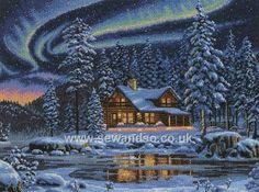 Buy Aurora Cabin Cross Stitch Kit Online at www.sewandso.co.uk
