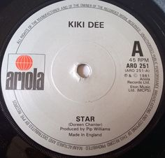 Star - Kiki Dee  Ariola Records ARO256 ©1981 UK #13 10Wks on chart