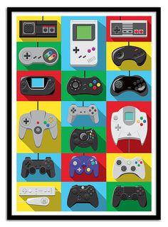 Plakat Kunst Poster 70 x 100 cm Kulte der Geek Games, Ps4 Games, Arcade Games, Playstation Games, Games Consoles, Retro Videos, Retro Video Games, Video Game Posters, Video Game Art