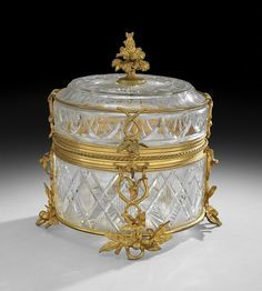 francesa bronce dorado y corte de vidrio cilíndrico