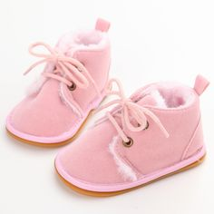 New Fashion Solid Lace-Up Baby Boots Cross-tied For Autumn/Winter Baby Shoes For Warm  Baby Plush Boots Shoes Wholesale