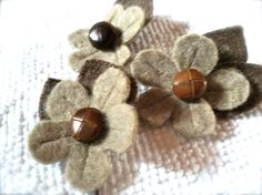 Wooly Daisy repurposed wools flower hair pin by PineBlossoms