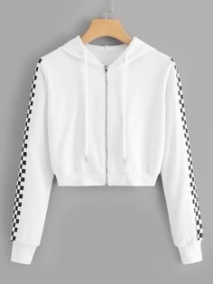 Shop Drawstring Detail Zip Hooded Sweatshirt at ROMWE, discover more fashion styles online. Crop Top Outfits, Cute Casual Outfits, Stylish Outfits, Teenage Outfits, Teen Fashion Outfits, Girl Outfits, Damen Sweatshirts, Hooded Sweatshirts, Trendy Hoodies