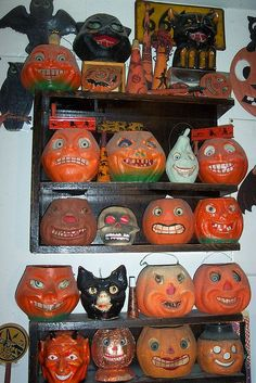 We had a pumpkin head like these that fit over a lamp, and that was our Jack OLantern for years. Wish I still had it.