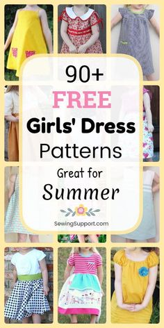 Free Dress patterns for Girls. Over 90 sewing tutorials and diy projects great f. Free Dress patterns for Girls. Over 90 sewing tutorials and diy projects great for Spring and Summer. Many simple short sleeve and sleeveless styles. Girl Dress Patterns, Sewing Patterns For Kids, Sewing For Kids, Baby Sewing, Skirt Patterns, Coat Patterns, Blouse Patterns, Clothes Patterns, Hand Sewing Projects