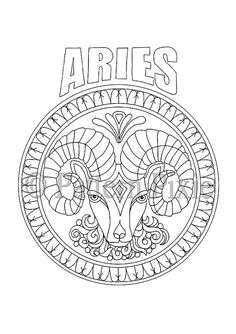 adult coloring page zodiac aries by patternpixie on etsy