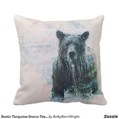 Rustic Turquoise Stucco Texture - Bear Throw Pillow