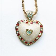 Jackie Kennedy 24K GP Heart Necklace  Enamel by SCLadyDiJewelry