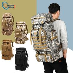 Waterproof Molle Camo Tactical Backpack Military Army Hiking Camping Backpack Travel Rucksack Outdoor Sports Climbing Bag - Outdoor You Should Know Tactical Backpack, Rucksack Backpack, Hiking Backpack, Travel Backpack, Travel Bags, Molle Rucksack, Camouflage, Tactical Accessories, Oxford