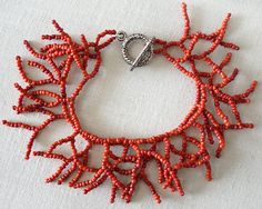 Fringe Bracelet Eco Friendly Coral Branches Red Bracelet Glass Seed Beaded Bracelet two Strand Bohemian Jewelry Boho Bracelet Gift for her by KapKaDesign on Etsy Coral Jewelry, Bohemian Jewelry, Beaded Jewelry, Diy Jewelry, Necklace Tutorial, Diy Necklace, Seed Bead Bracelets, Seed Beads, Gifts For Her