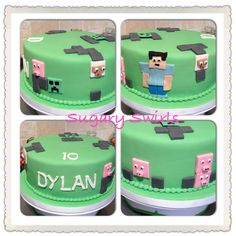 #Minecraft #birthdaycake #sugaryswirlsco Custom Birthday Cakes, Minecraft