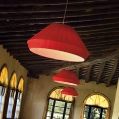 MEI PENDANTS genereously sized hanging lamp with a subtle oriental influence designed for large spaces.