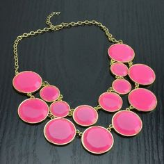 $9.98 Statement Bauble Bib Collar Necklace - Pink & Gold Bubble *FREE SHIP ON 1ST ITEM from Felicity INEXPENSIVE, CHEAP, FUN, FLIRTY JEWELRY style, love,gold, chain, jewel, gem, bauble, adjustable, clasp back, flirty, evening wear, day wear, office, girl's night out, first date, gift, women, teen, bling,shiny,collar,retro, metal, resin,circle,fun,fashion,bright,neon,colorful, www.felicityjewelry.storenvy.com