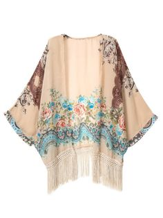 Brown Floral Kimono With Tassels