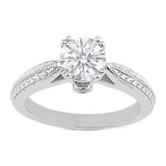 Round Diamond Vintage Wheat engraved Cathedral Engagement Ring with surprise diamonds in 14K White Gold