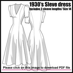 1930s dress free pattern with three sleeve options