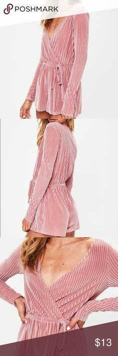 MISSGUIDED Stripe Velvet Wrap Playsuit Pink velvet, RECOMMENDED FOR PETITE WOMEN,  5'4 and under is probably in your best interest.... Missguided Other