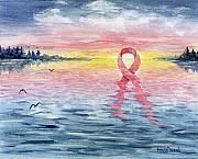 Breast Cancer Ribbon Paintings - New Beginnings by Mary Tuomi
