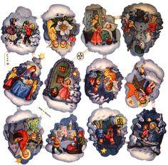 Glanzbilder-AFKH Vintage Cards, Vintage Postcards, Christmas Art, Vintage Christmas, Paper Toys, Paper Crafts, Bottle Cap Art, Christian Christmas, Vintage Prints
