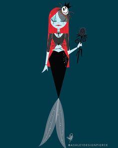 Sally as the Pumpkin Queen Mermaid Pose, Mermaid Art, Mermaid Disney, Fantasy Mermaids, Mermaids And Mermen, Disney Fan Art, Disney Love, Walt Disney, Disney Princesses As Mermaids