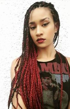 Red Box Braids | Coloured Box Braids | Multicolour | Ombre Protective Styles | Red Hair | Red Lipstick | Natural Hair Care  (scheduled via http://www.tailwindapp.com?utm_source=pinterest&utm_medium=twpin&utm_content=post143281269&utm_campaign=scheduler_at