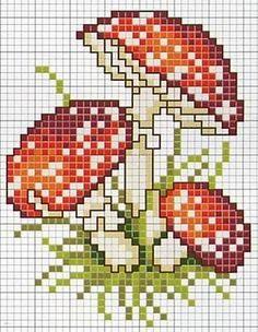 several mushroom patterns Mini Cross Stitch, Cross Stitch Needles, Cross Stitch Flowers, Cross Stitch Charts, Cross Stitch Designs, Cross Stitch Patterns, Cross Stitching, Cross Stitch Embroidery, Embroidery Art