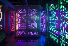 Installation view of Mathew's booth at Art Basel in Miami Beach, 2015; custom lightboxes