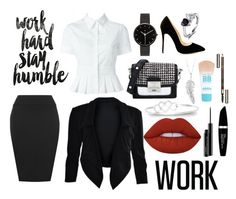 """Work"" by harmzilly on Polyvore featuring Americanflat, WearAll, Alexander McQueen, Karl Lagerfeld, I Love Ugly, Penny Preville, Lime Crime, Maybelline, Clarins and Max Factor"