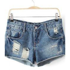 Ligh Blue Fringe Ripped Pocket Denim Short