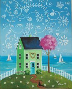Folk Art Prints | Out of the Blue Folk Art Print by KimsCottageArt on Etsy