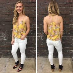 This little floral tank goes great with our white denim! - $27 #springfashion #spring  #fashionista #shoplocal #aldm #apricotlaneboutique #apricotlanedesmoines #shopaldm #desmoines #valleywestmall #fashion #apricotlane #newarrival  #shopalb  #ootd #westdesmoines  #shopapricotlaneboutiquedesmoines #ontrend